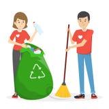 Η ομάδα εθελοντή συλλέγει τα απορρίματα και τα σκουπίδια διανυσματική απεικόνιση