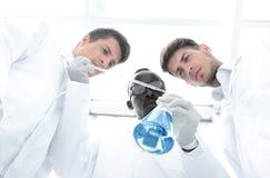 Η ομάδα επιστημόνων εξετάζει το υγρό στη φιάλη στοκ φωτογραφία