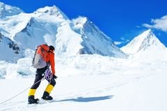 Η ομάδα ορειβατών με τα σακίδια πλάτης φθάνει στην κορυφή της αιχμής βουνών Επιτυχία, ελευθερία και ευτυχία, επίτευγμα στα βουνά στοκ εικόνα