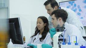 Η ομάδα των επιστημόνων ιατρικής έρευνας εργάζεται στους υπολογιστές στο σύγχρονο εργαστήριο απόθεμα βίντεο