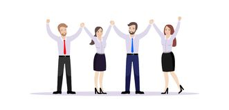 Η ομάδα των εργαζομένων γραφείων, που κρατά τα χέρια, χαίρεται για την επιτυχία διανυσματική απεικόνιση