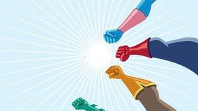 Η ομάδα Superhero συγκεντρώνει τη ζωτικότητα διανυσματική απεικόνιση