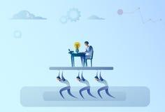 Η ομάδα επιχειρηματιών φέρνει τον κύριο επιχειρηματία που εργάζεται στην έννοια ηγεσίας υπολογιστών διανυσματική απεικόνιση