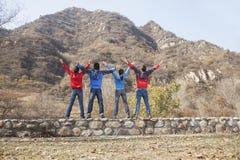 Η ομάδα νέων που στέκονται στην προεξοχή, όπλα στοκ φωτογραφίες