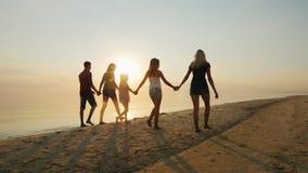 Η ομάδα παιδιών των διαφορετικών ηλικιών με τους ενηλίκους είναι στην παραλία στο ηλιοβασίλεμα Χέρια εκμετάλλευσης, οπισθοσκόπα απόθεμα βίντεο