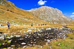 Η ομάδα πεζοποδών τουριστών πηγαίνει κατά μήκος ενός ποταμού βουνών Στοκ φωτογραφία με δικαίωμα ελεύθερης χρήσης