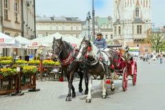 Η ομάδα τουριστών έχει το excurtion στο κάρρο αλόγων στο ιστορικό μέρος της Κρακοβίας Στοκ εικόνες με δικαίωμα ελεύθερης χρήσης