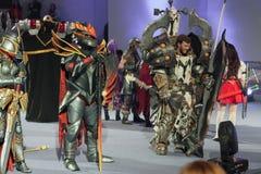 Η ομάδα cosplayers θέτει κατά τη διάρκεια του cosplay διαγωνισμού σε Animefest Στοκ εικόνες με δικαίωμα ελεύθερης χρήσης