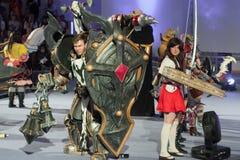 Η ομάδα cosplayers θέτει κατά τη διάρκεια του cosplay διαγωνισμού σε Animefest Στοκ εικόνα με δικαίωμα ελεύθερης χρήσης