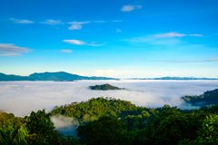 Η ομίχλη σε Khao Phanoen Thung, εθνικό πάρκο Kaeng Krachan Στοκ εικόνα με δικαίωμα ελεύθερης χρήσης