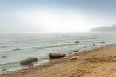 Η ομίχλη στην παραλία της θάλασσας της Βαλτικής, Repino, Άγιος-Πετρούπολη Στοκ Εικόνα