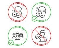 Η ομαδική εργασία, η αναζήτηση προσώπου και το πρόσωπο μειώθηκαν εικονίδια καθορισμένα r Η ομάδα χρηστών, βρίσκει το χρήστη, λάθο διανυσματική απεικόνιση