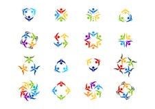 Η ομαδική εργασία, λογότυπο, κοινωνική εκπαίδευση εργασίας ομάδας, απεικόνιση, σύγχρονη, δίκτυο, logotype έθεσε το διανυσματικό σ Στοκ Εικόνες