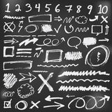 Η ομιλία βράζει σκίτσο doodles στο μαύρο πίνακα κιμωλίας Στοκ Φωτογραφίες