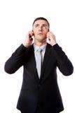 Η ομιλία επιχειρηματιών στο κύτταρο δύο τηλεφωνά συγχρόνως Στοκ Φωτογραφία