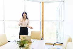Η ομιλία επιχειρησιακών γυναικών με κινητό τηλέφωνο και εξετάζει το lap-top ενάντια στο παράθυρο στην αρχή Στοκ Εικόνα