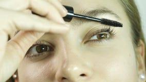 Η ομορφιά αποτελεί το προκλητικό κορίτσι που βάζει mascara στα eyelashes φιλμ μικρού μήκους