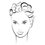 η ομορφιά καλύτερη μετατρέπει την ποιότητα κοριτσιών ακατέργαστη Όμορφο πρόσωπο γυναικών μόδας μελάνι Στοκ Φωτογραφίες