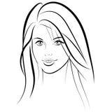 η ομορφιά καλύτερη μετατρέπει την ποιότητα κοριτσιών ακατέργαστη Όμορφο πρόσωπο γυναικών μόδας μελάνι Στοκ Εικόνες