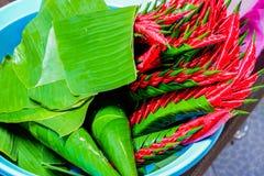 Η ομορφιά του ρυζιού που προσφέρει το ταϊλανδικό ύφος στοκ φωτογραφία