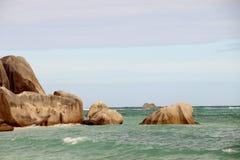 Η ομορφότερη πηγή δ ` Argent Anse παραλιών του νησιού του Λα σκάβει Στοκ φωτογραφία με δικαίωμα ελεύθερης χρήσης