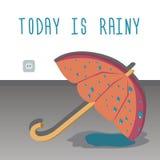 Η ομπρέλα που ξεραίνει στο πάτωμα Σήμερα είναι βροχερό απεικόνιση αποθεμάτων