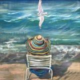 Η ονειροπόλος γυναίκα κάθεται σε μια άσπρη διπλώνοντας καρέκλα διανυσματική απεικόνιση