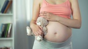 Η ονειροπόλος γυναίκα με την έγκυο κοιλιά που αγκαλιάζει το παιχνίδι αντέχει tenderly, αναπληρωματική μητέρα απόθεμα βίντεο