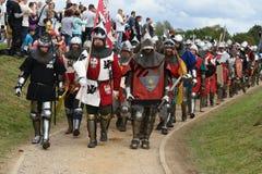 Η οργάνωση της μεσαιωνικής μάχης Grunwald από το 1410 στοκ εικόνες