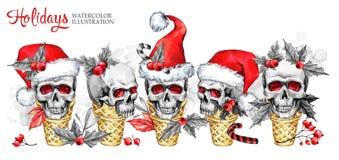 Η οριζόντια γιρλάντα Watercolor των κώνων βαφλών με τα περιγραμματικά κρανία στο καπέλο Santa, μούρα, φεύγει Νέο έτος Cretive Στοκ Εικόνες