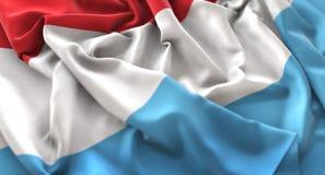 Η λουξεμβούργια σημαία αναστάτωσε τον υπέροχα κυματίζοντας μακρο πυροβολισμό κινηματογραφήσεων σε πρώτο πλάνο Στοκ φωτογραφία με δικαίωμα ελεύθερης χρήσης