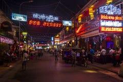 Η οδός μπαρ σε Siem συγκεντρώνει τη νύχτα στοκ εικόνα