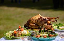 Η πάπια ψητού είναι εξ ολοκλήρου μεταξύ των πιάτων των ψαριών και του κρέατος υπαίθρια Στοκ φωτογραφία με δικαίωμα ελεύθερης χρήσης