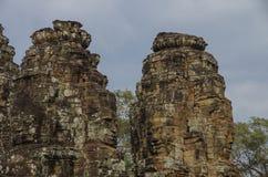 Η πέτρα προσώπου του αρχαίου ναού Bayon σε Angkor Wat, Siem συγκεντρώνει, Καμπότζη Στοκ Εικόνες