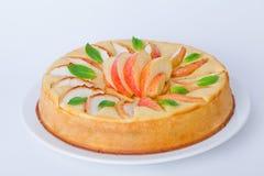 Η πίτα με το σύνολο μεντών μήλων απομόνωσε το άσπρο υπόβαθρο Στοκ εικόνες με δικαίωμα ελεύθερης χρήσης