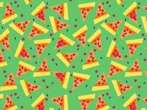 Η πίτσα τεμαχίζει το σχέδιο στο πράσινο υπόβαθρο Στοκ φωτογραφίες με δικαίωμα ελεύθερης χρήσης