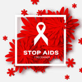 Η παγκόσμια στάση βοηθά την ημέρα στο κόκκινο υπόβαθρο origami δέο ελεύθερη απεικόνιση δικαιώματος