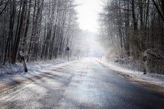 Η παγωμένη εθνική οδός οδηγεί μέσω ενός χειμερινού δάσους με τα γυμνά δέντρα α Στοκ Φωτογραφία