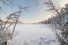 Η παγωμένη χειμερινή λίμνη στο δάσος κάτω από το χιόνι Στοκ Φωτογραφία