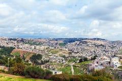 Η παλαιοί πόλη και ο ναός της Ιερουσαλήμ τοποθετούν στοκ εικόνες