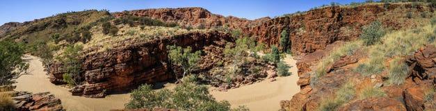 Η πανοραμική άποψη σχετικά με τους καθαρούς quartzite απότομους βράχους στο φαράγγι Trephina, ανατολή MacDonnell κυμαίνεται, Βόρε στοκ εικόνες