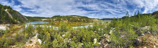 Η πανοραμική άποψη του φθινοπώρου με τα κίτρινα δέντρα αγριόπευκων πλημμύρισε στο κατώτατο σημείο και το μπλε νερό Πλημμυρισμένες στοκ φωτογραφίες