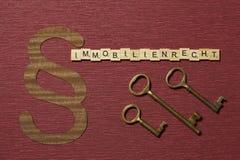 Η παράγραφος σημαδιών στο υπόβαθρο χρώματος κλαρέ Λέξη σε γερμανικό Immobilienrecht στοκ εικόνες