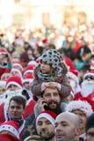 Η παρέλαση των προτάσεων Santa στις μοτοσικλέτες γύρω από το κύριο τετράγωνο αγοράς στην Κρακοβία Στοκ Εικόνες