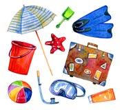 Η παραλία αντιτίθεται - parasol, βατραχοπέδιλα, βαλίτσα, σφαίρα, μάσκα, κάδος Συρμένο χέρι σύνολο watercolor απεικόνιση αποθεμάτων