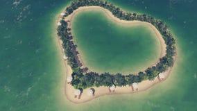 Η παραλία σε μια καρδιά διαμόρφωσε το τροπικό νησί ελεύθερη απεικόνιση δικαιώματος