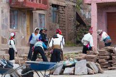 Η παραδοσιακή κοινότητα Taquile, λίμνη Titicaca, Περού Στοκ Φωτογραφία