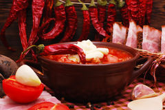 Η παραδοσιακή ουκρανική σούπα τεύτλων borscht Στοκ Φωτογραφίες