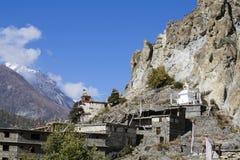 Η παραδοσιακή πέτρα χτίζει το χωριό Manang Βουνά στην ανασκόπηση Περιοχή Annapurna, Ιμαλάια, Νεπάλ Στοκ εικόνα με δικαίωμα ελεύθερης χρήσης