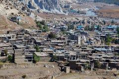 Η παραδοσιακή πέτρα χτίζει το χωριό Manang Βουνά στην ανασκόπηση Περιοχή Annapurna, Ιμαλάια, Νεπάλ Στοκ φωτογραφία με δικαίωμα ελεύθερης χρήσης